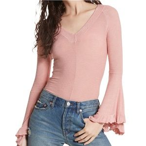 INTIMATELY FREE Rose Pink Fitted Bell Sleeve V Neck Top L NWT